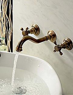 アンティーク 壁式 組み合わせ式 with  セラミックバルブ 三つ 二つのハンドル三穴 for  アンティーク銅 , バスルームのシンクの蛇口