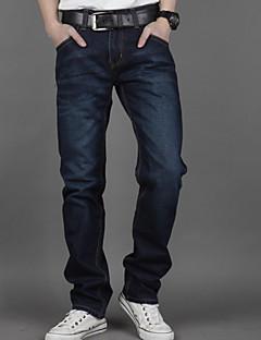 Herren Übergrössen Gerade Jeans Hose-Lässig/Alltäglich einfarbig Mittlere Hüfthöhe Reisverschluss Baumwolle Micro-elastisch All Seasons