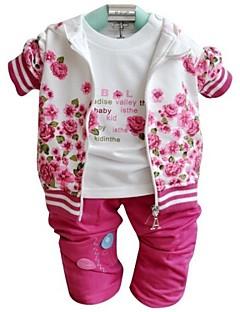 tanie Odzież dla dziewczynek-Komplet odzieży Dla dziewczynek Kwiaty Wiosna Jesień Długi rękaw Różowy Dark Red