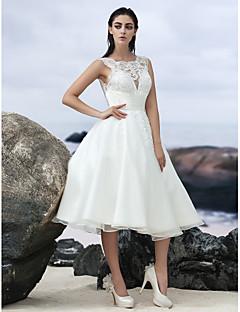 billiga A-linjeformade brudklänningar-A-linje Prydd med juveler Knälång Organza Bröllopsklänningar tillverkade med Spetsinlägg av LAN TING BRIDE® / Liten vit klänning