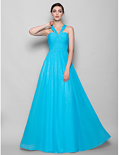 Sheath / Column Halter Floor Length Chiffon Bridesmaid Dress with Criss Cross by LAN TING BRIDE®