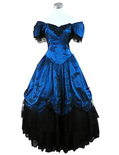 billiga Lolitamode-Gotisk Lolita Steampunk® Victoriansk Spets Satin Dam Klänningar Cosplay Blå Kortärmad Lång längd Halloweenkostymer