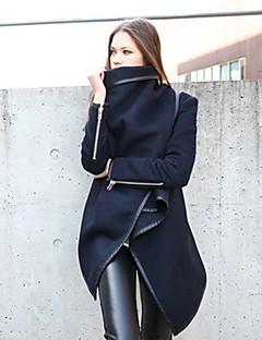 Damen Einfach Lässig/Alltäglich Mantel,Alle Saisons Langarm Blau Grün Mittel