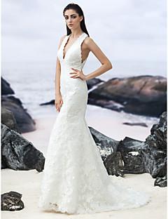 billiga Trumpet-/sjöjungfrubrudklänningar-Trumpet / sjöjungfru V-hals Svepsläp Spets Bröllopsklänningar tillverkade med av LAN TING BRIDE®