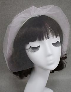 cheap Wedding Veils-One-tier Cut Edge Wedding Veil Blusher Veils Veils for Short Hair With Tulle