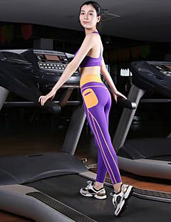 billiga Träning-, jogging- och yogakläder-Dam Brottarrygg Sport-BH med joggingbyxor - Purpur, Röd, Blå sporter Cykling Tights / Leggings / Linne Yoga Sportkläder Snabb tork