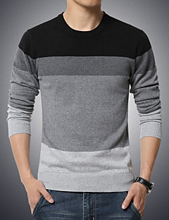Men's Daily Plus Size Casual Regular Pullover,Color Block Round Neck Long Sleeves Cotton Polyester Winter Fall Medium Stretchy