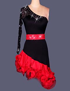 ラテンダンス ワンピース 女性用 演出 訓練 スパンデックス クレープ サイドドレープ 2個 ドレス ウエストベルト