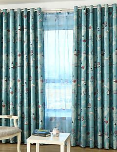 billige Mørkleggingsgardiner-To paneler Window Treatment Rustikk Moderne Neoklassisk Middelhavet Rokoko Barokk Europeisk Designer Barnerom Polyester MaterialeBlackout