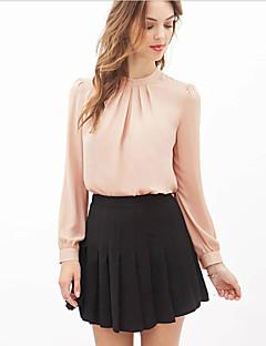 Damen Solide Einfach Formal Bluse,Rundhalsausschnitt Herbst Langarm Rosa Schwarz Transparent