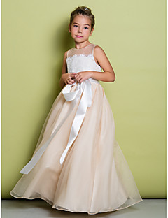 cheap Pageant Dresses-A-Line Floor Length Flower Girl Dress - Lace Organza Sleeveless Jewel Neck with Lace by LAN TING BRIDE®