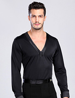 Latin Dance Tops Men's Performance Training Spandex Buttons 1 Piece Long Sleeve Top