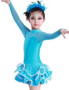 cheap New Arrivals-Latin Dance Dresses Performance Cotton Polyester Spandex Crystals / Rhinestones Ruffles Long Sleeves Dress