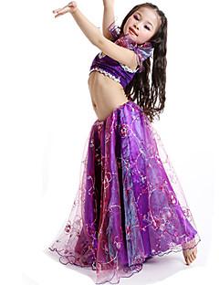 ベリーダンス セット 子供用 演出 サテン 刺繍 2個 ノースリーブ 上着 スカート