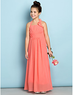 cheap Junior Bridesmaid Dresses-Sheath / Column Halter Ankle Length Chiffon Junior Bridesmaid Dress with Side Draping by LAN TING BRIDE®