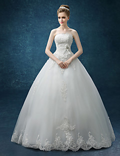 cheap Vintage Romance-A-Line Strapless Floor Length Organza / Satin Made-To-Measure Wedding Dresses with Bowknot / Lace by