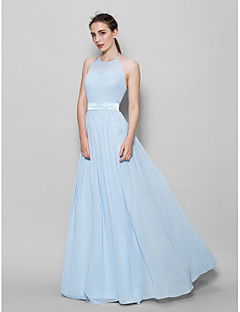 cheap Imperial Blue-A-Line Halter Floor Length Chiffon Bridesmaid Dress with Sash / Ribbon Pleats by LAN TING BRIDE®