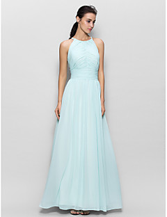 cheap Imperial Blue-Sheath / Column Jewel Neck Floor Length Chiffon Bridesmaid Dress with Draping by LAN TING BRIDE®