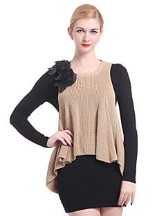 tanie Swetry damskie-Damskie Dekolt w kształcie litery U Pulower - Kwiat Falbany, Jendolity kolor Długi rękaw