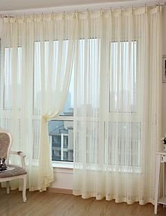 To paneler Window Treatment Moderne , Stribe Soverom Polyester Materiale gardiner gardiner Hjem Dekor For Vindu