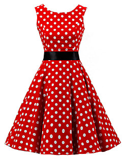 Women's Going out Vintage A Line Skater Dress,Polka Dot Round Neck Knee-length Sleeveless Cotton Spring Summer High Rise Micro-elastic