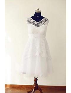 billiga A-linjeformade brudklänningar-A-linje V-hals Telång Spets / Tyll Bröllopsklänningar tillverkade med Spets / Bälte / band / Veckad av / Liten vit klänning