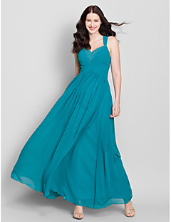 cheap Imperial Blue-A-Line Straps Floor Length Chiffon Bridesmaid Dress with Beading Criss Cross by LAN TING BRIDE®