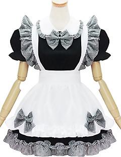 billiga Lolitaklänningar-Gotisk Lolita Gulligt Dam Piguniform Cosplay Vit Svart Kortärmad Kort längd
