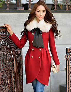 お買い得  コート、トレンチコート-婦人向け 長袖 コート ウール / ポリエステル , カジュアル