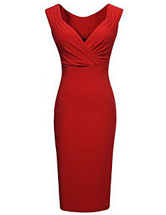 cheap Women's Dresses-Women's Plus Size Bodycon Dress - Solid Deep V