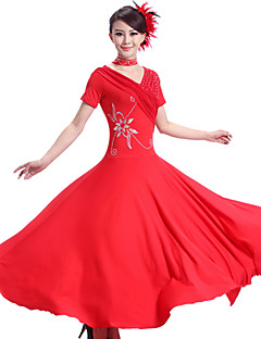 cheap New Arrivals-Ballroom Dance Dresses Women's Performance Spandex Chinlon Draping Dress Neckwear