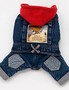 billiga Hundkläder-Hund Huvtröjor Jeansjackor Hundkläder Jeans Blå Cotton Kostym För husdjur Herr Dam Cowboy
