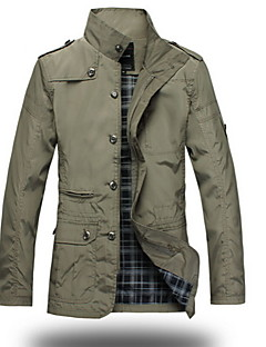 Men's Long Sleeve Regular Trench Coat , Polyester Plaids & Checks Winter Jacket