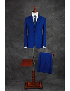 tanie Garnitury-Niebieski royal Jendolity kolor Dopasowana Mieszanka bawełny Garnitur - Otwate Jednorzędowa, dwa guziki