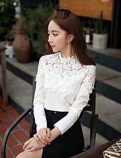 preiswerte -Damen Patchwork Einfach Lässig/Alltäglich Hemd,Ständer Herbst Langarm Weiß Polyester / Elasthan Mittel