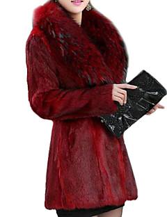 Женский Вечеринка/коктейль / На каждый день Однотонный Пальто с мехом V-образный вырез Зима Красный / Черный Длинный рукав,Искусственный