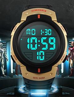 billige Høj kvalitet-SKMEI Herre Sportsur Armbåndsur Digital 30 m Vandafvisende Alarm Kalender Gummi Bånd Digital Sort - Blå Jægergrøn Gylden / Kronograf / LCD