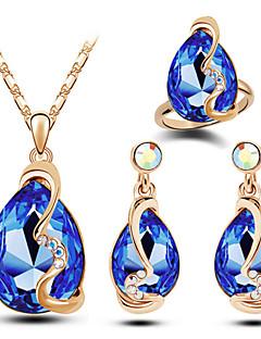 Χαμηλού Κόστους Hualuo®-Γυναικεία Κρυστάλλινο Κοσμήματα Σετ - Αυστριακό κρύσταλλο Κρεμαστό Πολυτέλεια, Μοντέρνα Περιλαμβάνω Μπλε / Ροζ / Μπλε Απαλό Για Χριστουγεννιάτικα δώρα Γάμου Πάρτι / Δακτυλίδια / Cercei / Κολιέ