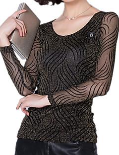 Dámské Proužky Běžné/Denní Velké velikosti Jednoduché Tričko-Jaro Nylon Kulatý Dlouhý rukáv Střední