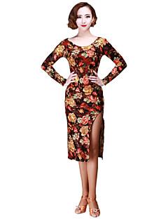 cheap New Arrivals-Latin Dance Dresses Women's Performance Velvet Pattern / Print Long Sleeves Dress
