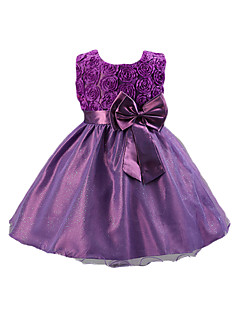 cheap Girls' Clothing-Girl's Solid Dress, Cotton Acrylic Polyester All Seasons Sleeveless Floral Dresswear Bow Purple Fuchsia Red Blue Pink
