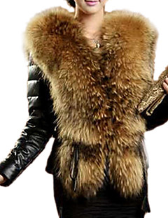 Damenmode schwarz warm Kunstpelz Langarm Top gefüttert, Polyester