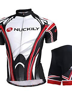 Nuckily חולצת ג'רסי ומכנס קצר לרכיבה יוניסקס שרוול קצר אופניים ג'רזי מכנסיים קצרים מדים בסטים צמרותעמיד למים עמיד אולטרה סגול רוכסן עמיד