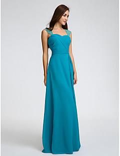 cheap Imperial Blue-Sheath / Column Straps Floor Length Chiffon Bridesmaid Dress with Beading Sash / Ribbon Criss Cross Ruching by LAN TING BRIDE®