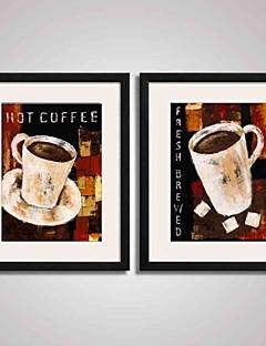 Sille Liv Højtid Mad/ Drikke abstrakt fritid Indrammet Kunsttryk Indrammet Lærred Indrammet Sæt Vægkunst,PVC Materiale Med Ramme For Hjem