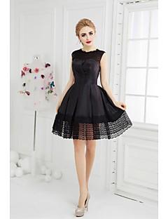 billiga Den lilla svarta-A-linje Prydd med juveler Kort / mini Taft Cocktailfest Klänning med Spets Sidodraperad av TS Couture®