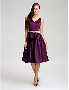 cheap Purple Passion-A-Line V-neck Knee Length Satin Bridesmaid Dress with Beading Bow(s) Buttons Crystal Detailing Sash / Ribbon by LAN TING BRIDE®