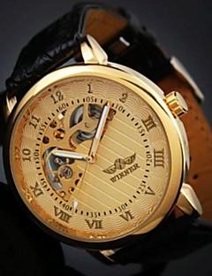 男性 機械式時計 リストウォッチ 耐水 透かし加工 手巻き式 レザー バンド ブラック ブラウン