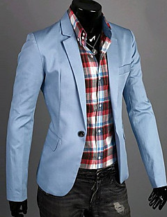 cheap Men's Blazers & Suits-Men's Daily / Work Spring / Fall Regular Blazer, Solid Colored V Neck Long Sleeve Cotton Dark Blue / Green / Blue XL / XXL / XXXL / Slim
