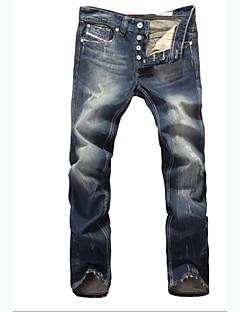 billige Herrebukser og -shorts-Herre Store størrelser Bomull Jeans Bukser - Ensfarget / Ruter Mørkeblå / Helg